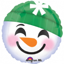 "Christmas Foil Balloon - Snowman Emoticon (18"") 1pc"